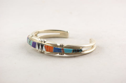 Multistone Navajo Inlay Bracelet by Patrick Lincoln - Turquoise Village