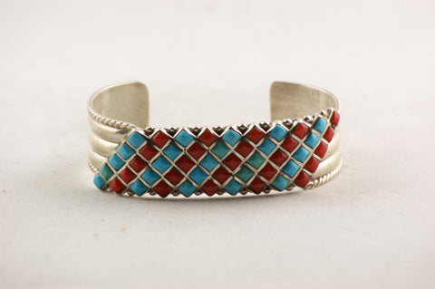 Zuni Turquoise and Red Coral Petit Point Bracelet by Bonnie Quam - Turquoise Village - 1