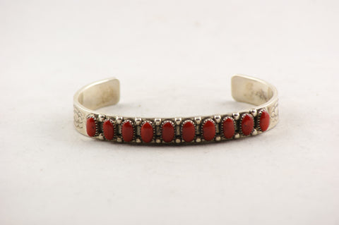 Zuni Indian Jewelry Natural Red Coral & Sterling Silver Bracelet - Turquoise Village - 1