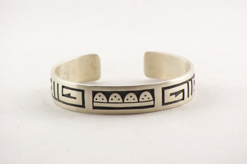 Hopi Overlay Rain Cloud Cuff Bracelet by Ben Mansfield - Turquoise Village - 1