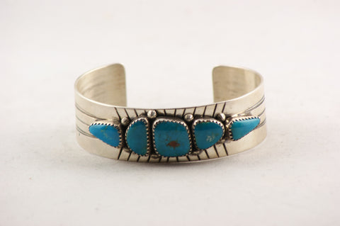 Navajo Turquoise Nugget Cuff Bracelet by Leonard Chee - Turquoise Village - 1