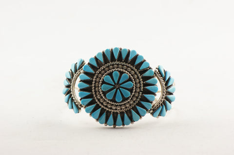 Zuni Petit Point Turquoise Cuff Bracelet by Arvina Pinto Sandoval - Turquoise Village - 1