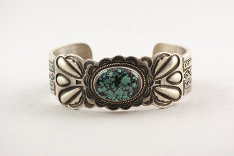 Navajo Sterling Silver & Turquoise Bracelet - Turquoise Village - 1