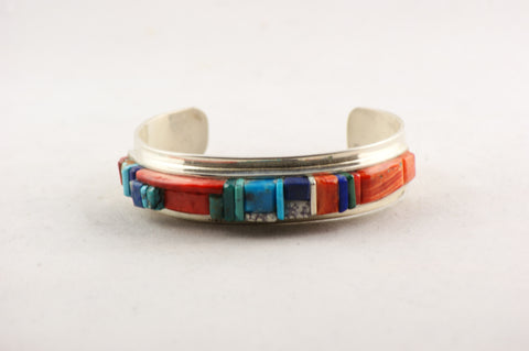 Navajo Cobbled Inlay Multistone Cuff Bracelet by Harold Smith - Turquoise Village - 1