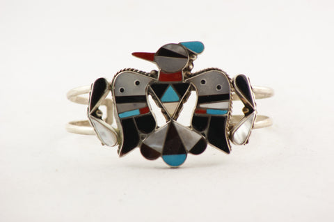 Zuni Inlay Thunderbird Cuff Bracelet by Bobby Shack - Turquoise Village - 1