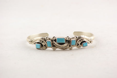 Handmade Zuni Turquoise and Sterling Silver Bracelet by Amy Locaspino - Turquoise Village - 1