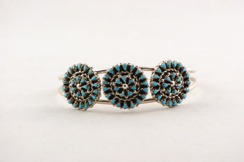 Zuni Petit Point Turquoise Cuff Bracelet by Trudy Quetawki - Turquoise Village - 1