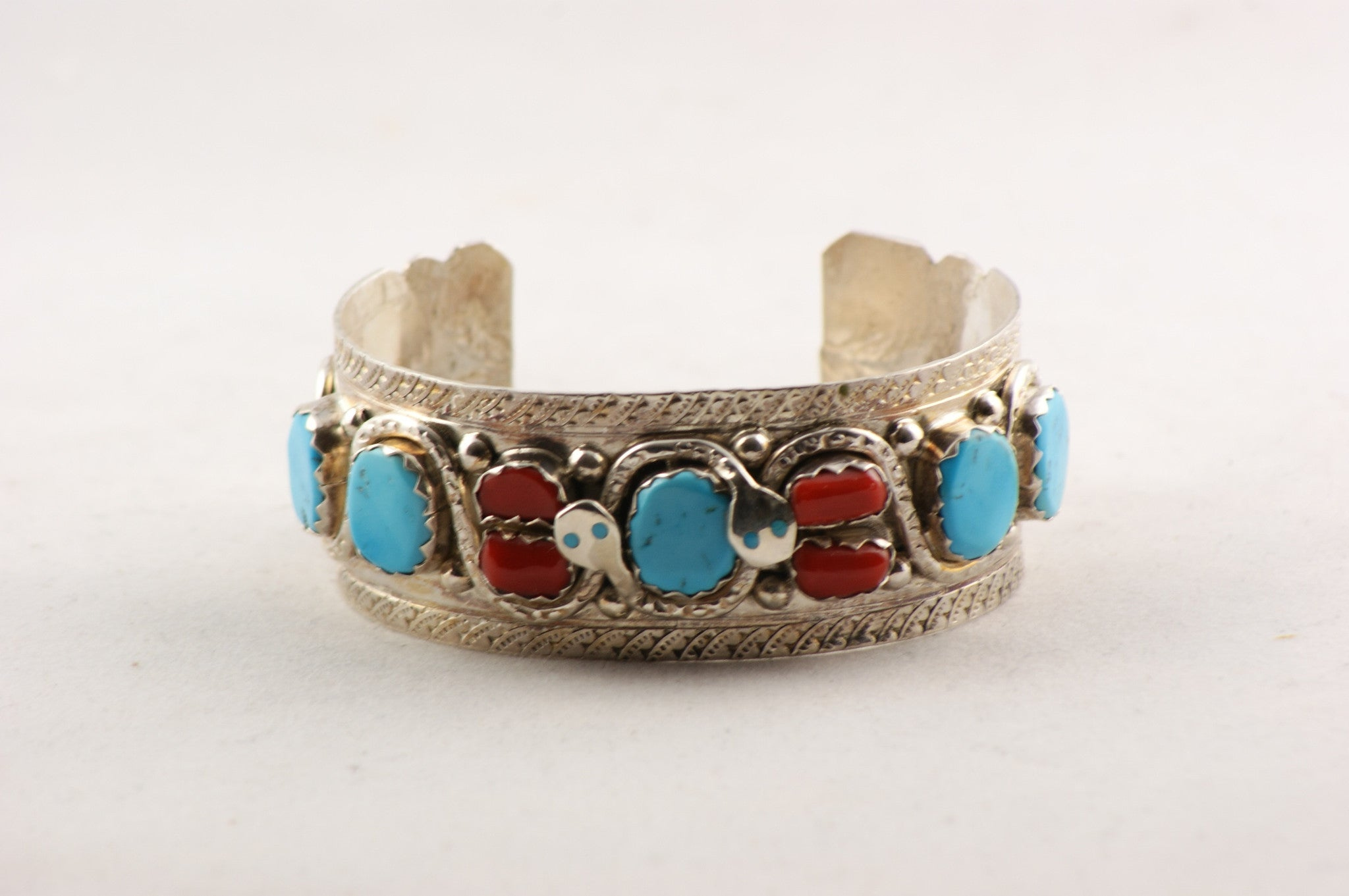 Zuni Turquoise And Red Coral Cuff Bracelet By Effie Calavaza