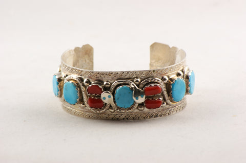 Zuni Turquoise and Red Coral Cuff Bracelet by Effie Calavaza - Turquoise Village - 1