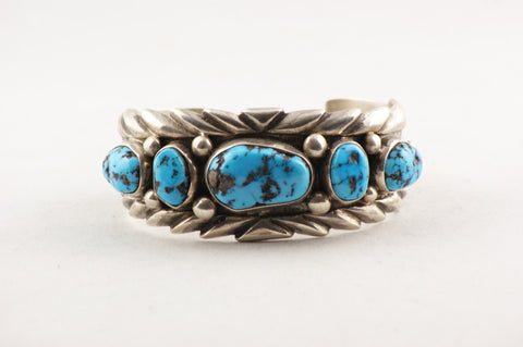 Navajo Turquoise Nugget Cuff Bracelet by Wilson Begay - Turquoise Village - 1