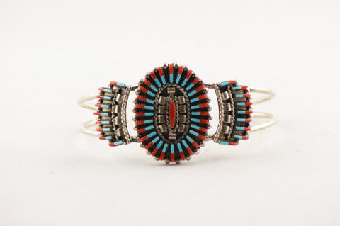 Red Coral and Turquoise Zuni Needlepoint Bracelet by Carla Lonconcello - Turquoise Village - 1