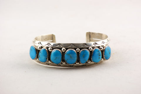 Navajo Turquoise Nugget Cuff Bracelet - Turquoise Village - 1