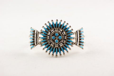 Needle Point Turquoise & Sterling Silver Zuni Bracelet - Turquoise Village - 1