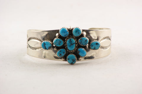 Navajo Clusterwork Turquoise Cuff Bracelet by Leonard Chee - Turquoise Village - 1