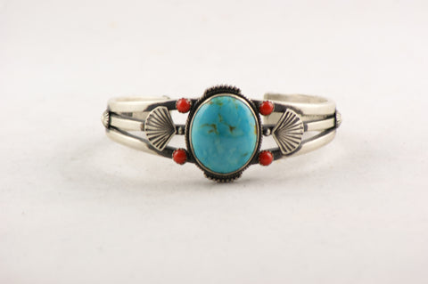 Navajo Jewelry Sterling Silver & Turquoise Bracelet - Turquoise Village - 1