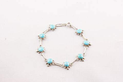 Zuni Indian Jewelry Turquoise & Sterling Silver Turtle Bracelet - Turquoise Village