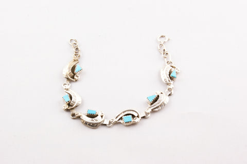 Zuni Indian Jewelry Silver Leaf & Turquoise Bracelet - Turquoise Village