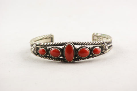 Navajo Red Coral Cuff Bracelet by Steve Arviso - Turquoise Village - 1