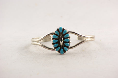 Zuni Jewelry Southwestern Design Turquoise & Sterling Silver Bracelet - Turquoise Village - 1
