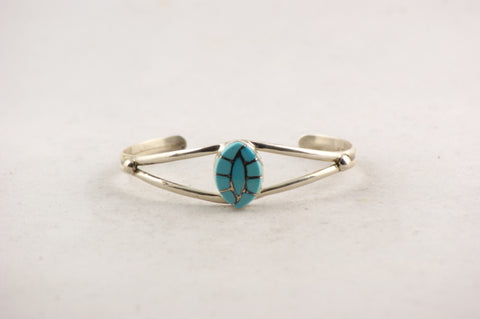 Zuni Jewelry Turquoise & Silver Inlay Bracelet - Turquoise Village - 1
