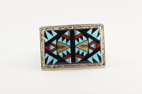 Zuni Inlay Buckle by Viola Eriacho - Turquoise Village