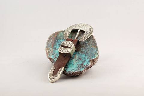 Ranger Sterling Silver Buckle Set - Turquoise Village
