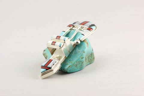 Zuni Inlay Ranger Style Buckle Set by Stanford & Diana Coochie - Turquoise Village