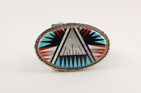 Zuni Inlay Oval Belt Buckle by Gladys & Leslie Lamy - Turquoise Village