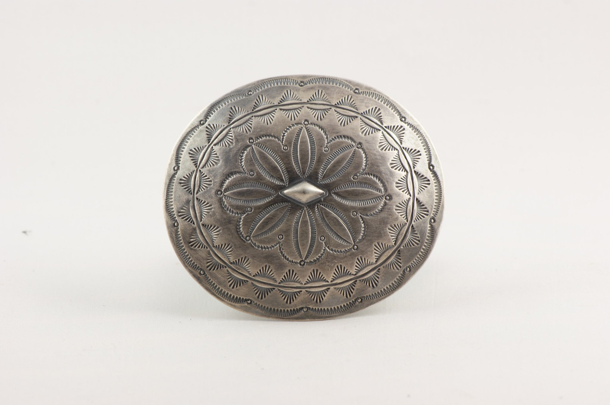 Navajo Sterling Concho Buckle By Paul Begay
