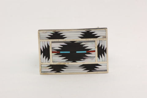 Zuni Inlay Buckle by Pat & Charlotte Dishta - Turquoise Village