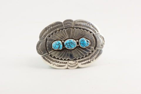 Navajo Stamped and Overlay Buckle by Joe Tso - Turquoise Village