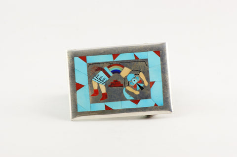 Zuni Multistone Inlay Kachina Buckle by Harlan & Monica Coonsis - Turquoise Village