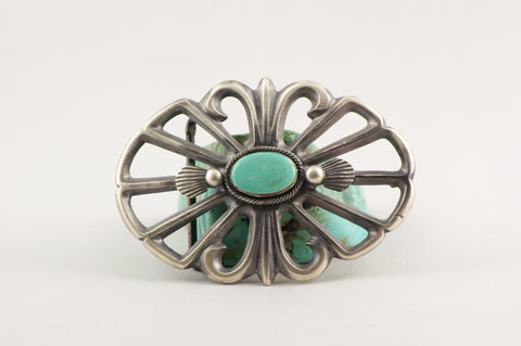 Navajo Henry Morgan Turquoise & Cast Silver Belt Buckle - Turquoise Village