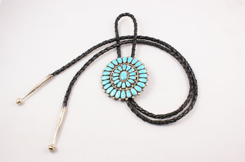 Sleeping Beauty Turquoise Cluster Zuni Bolo Tie - Turquoise Village