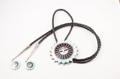 Zuni Inlay Sunface Bolo by April Unkestine - Turquoise Village