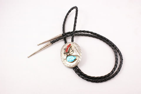 Navajo Red Coral and Turquoise Nugget Bolo by D. C. Thomas - Turquoise Village
