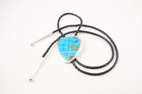 Navajo Channel Inlay Turquoise Bolo by Harold Smith - Turquoise Village