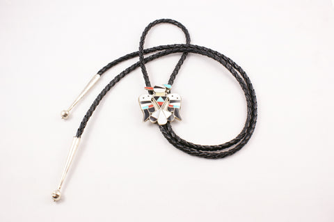Zuni Inlay Thunderbird Design Bolo by Bobby Shack - Turquoise Village