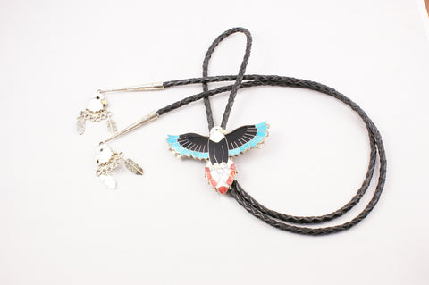 Zuni Inlay Eagle Bolo by Kendel Shebola - Turquoise Village