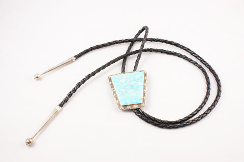 Zuni Channel Inlay Turquoise Bolo by Carmichael Haloo - Turquoise Village