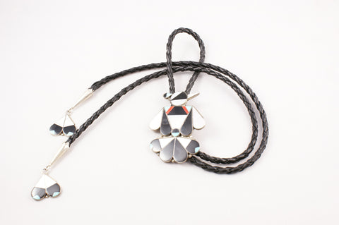 Zuni Inlay Thunderbird Bolo by Allison Dishta - Turquoise Village