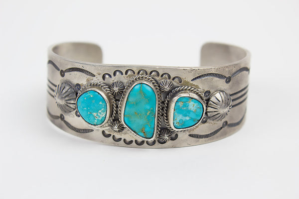 Cast Sterling And Turquoise Navajo Bracelet By Leonard