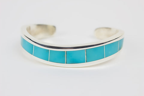 Contemporary Zuni Turquoise Channel Inlay Bracelet by Larry Loretto - Turquoise Village - 1