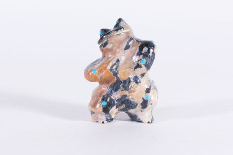 Egyptian Marble Zuni Dancing Frog Fetish by Hayes Leekya - Turquoise Village - 1