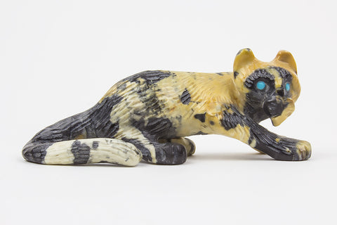 Egyptian Marble Zuni Mountain Lion Fetish by Wilfred Cheama - Turquoise Village - 1