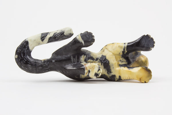 Egyptian Marble Zuni Mountain Lion Fetish by Wilfred Cheama