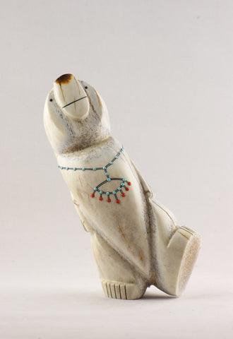 Hand Carved Elk Antler Walking Bear Zuni Fetish - Turquoise Village - 1