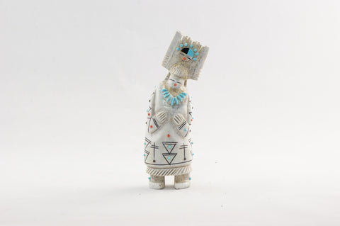 Hand Carved Elk Antler Tabletta Maiden Zuni Fetish - Turquoise Village - 1