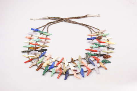 Zuni Three Strand Multistone Fetish Necklace by Rosita Kaamasee - Turquoise Village