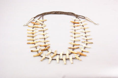 Zuni Two Strand Fossil Ivory Fetish Necklace by Verna Kushana - Turquoise Village